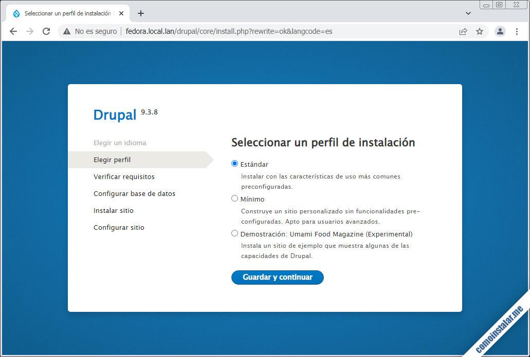 Instalar Drupal en Fedora 33, 32, 31 y 30