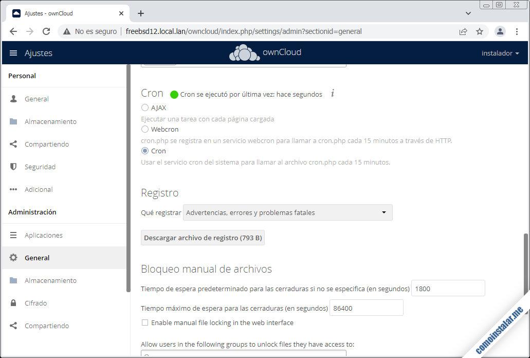 instalar y configurar ownCloud en freebsd 12