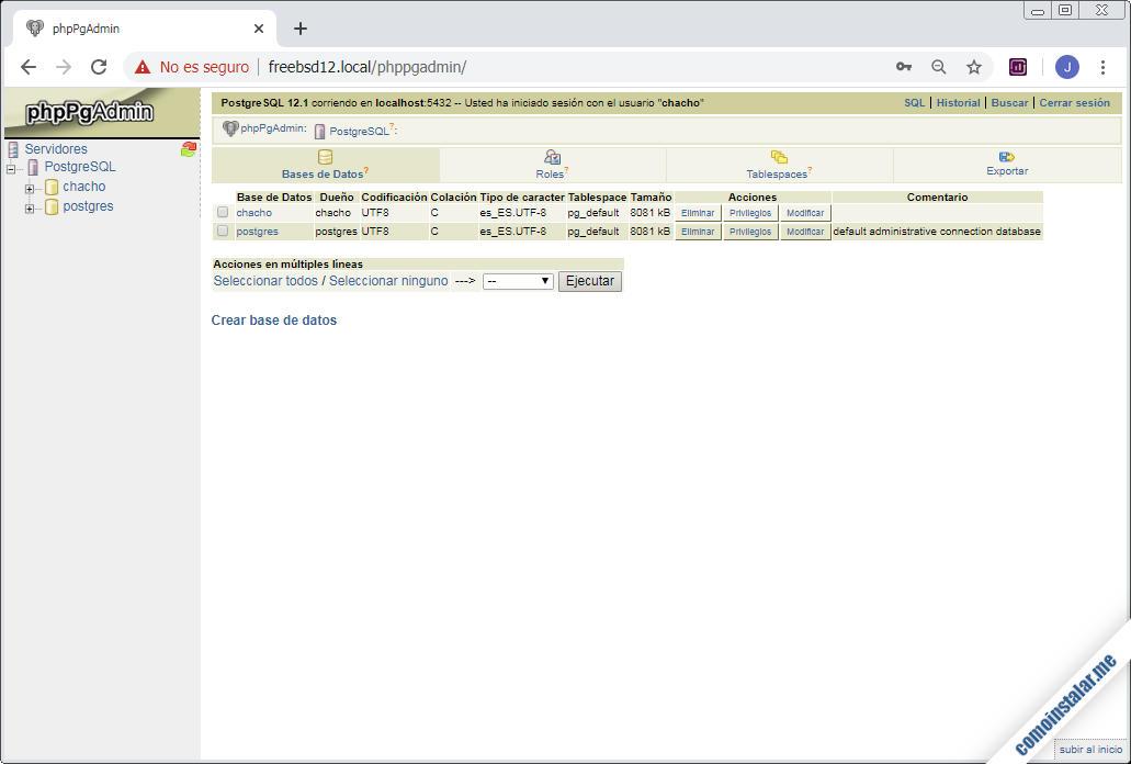 phpPgAdmin en FreeBSD 12