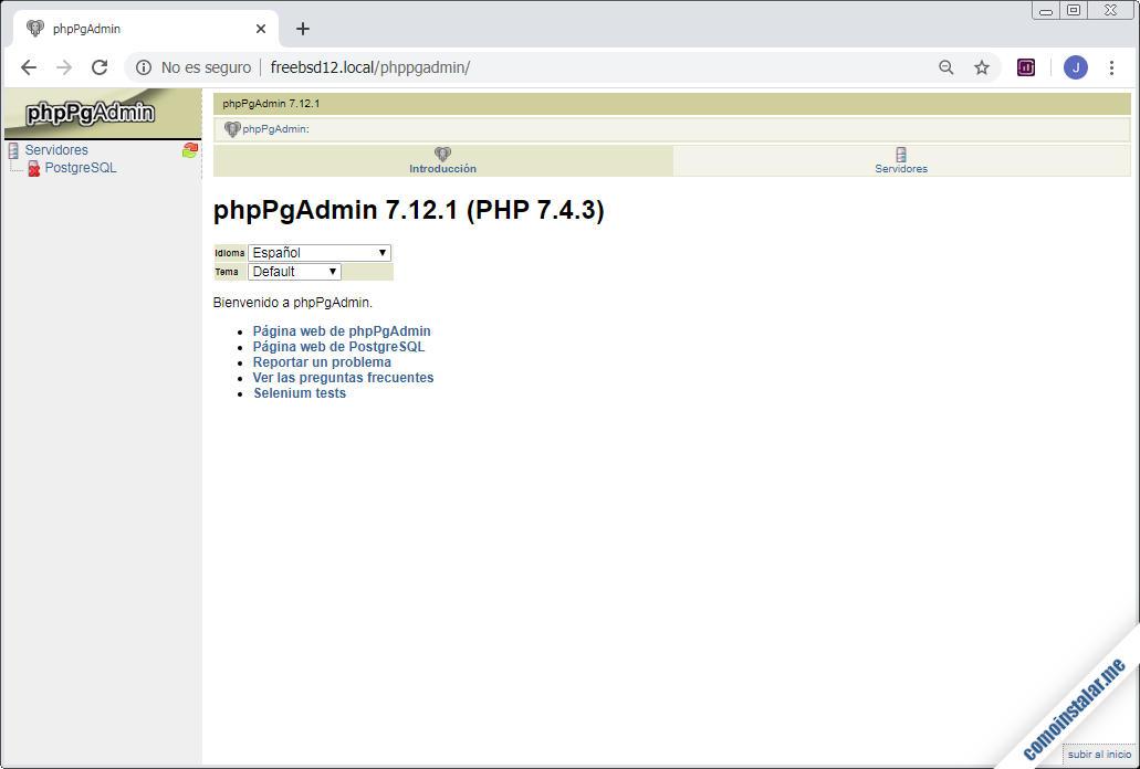 como instalar phppgadmin en freebsd 12