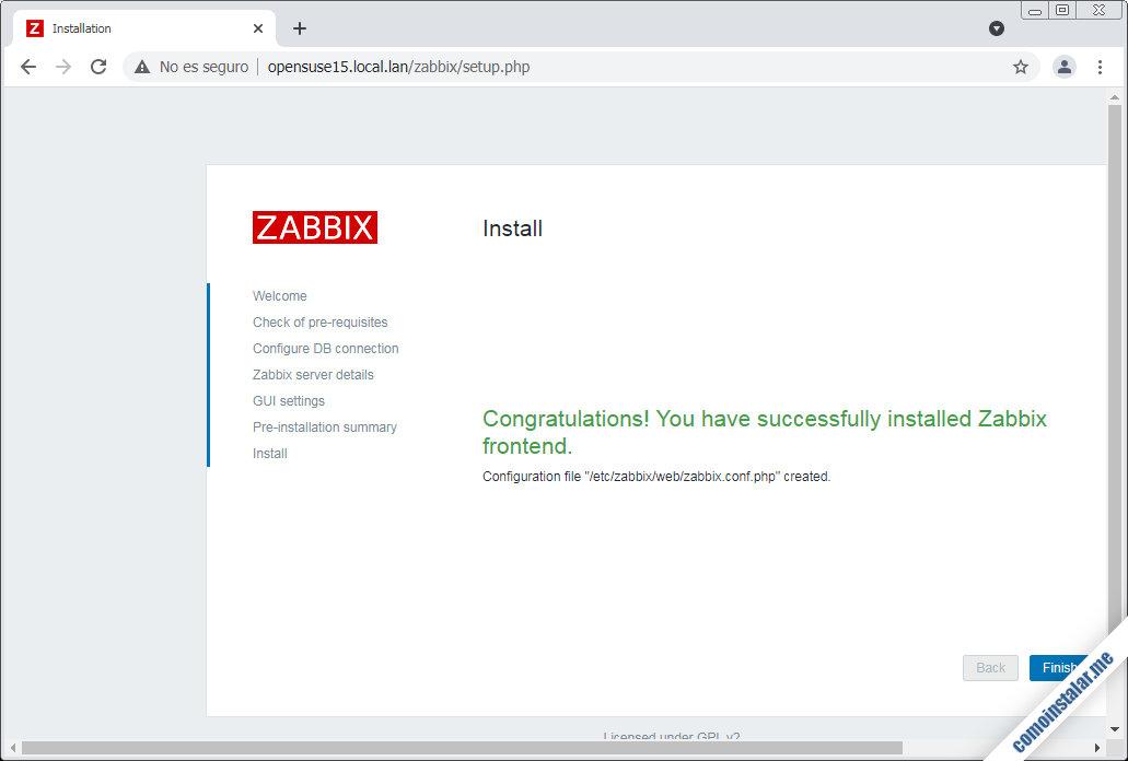 zabbix frontend en opensuse leap 15.1