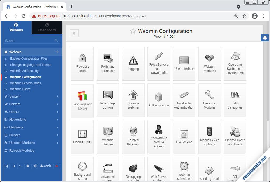 como instalar y configurar webmin en freebsd 12