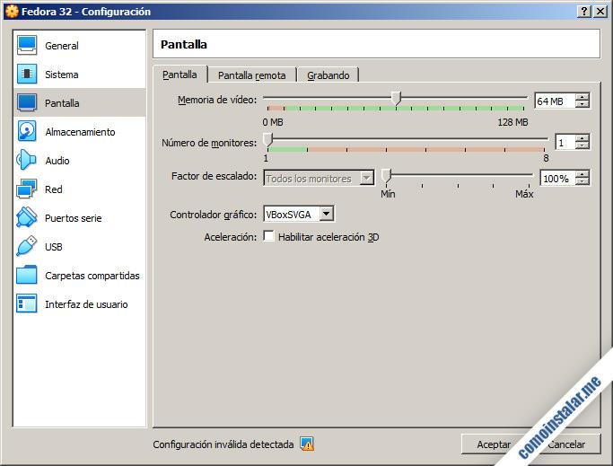 configurar virtualbox para fedora 32