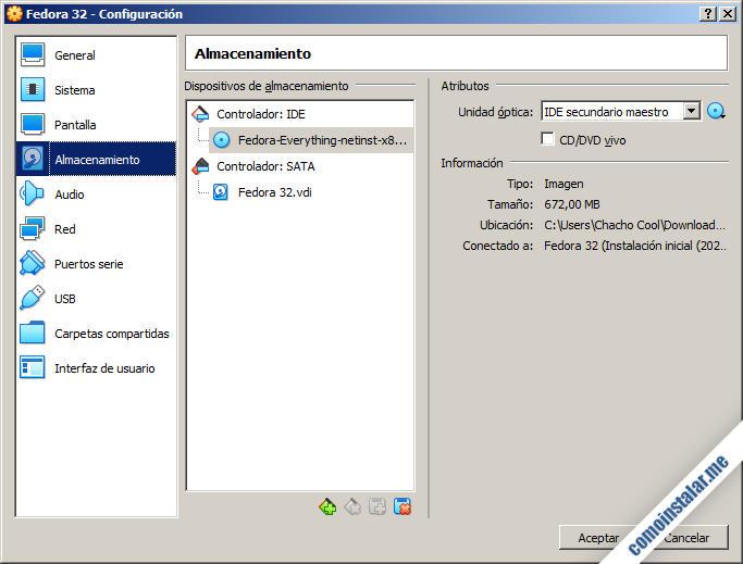 como configurar virtualbox para fedora 32