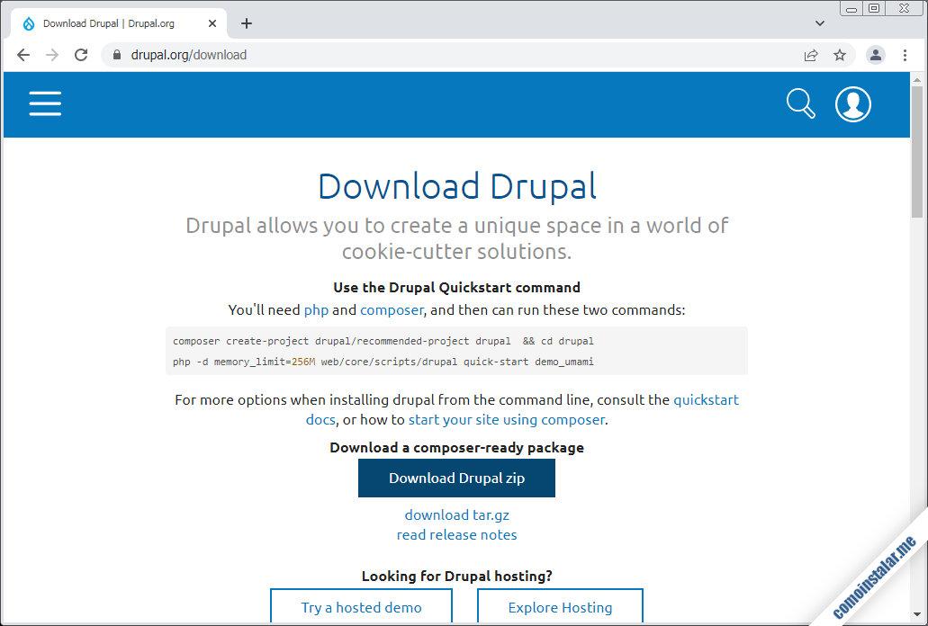 como descargar Drupal para openSUSE Leap 15