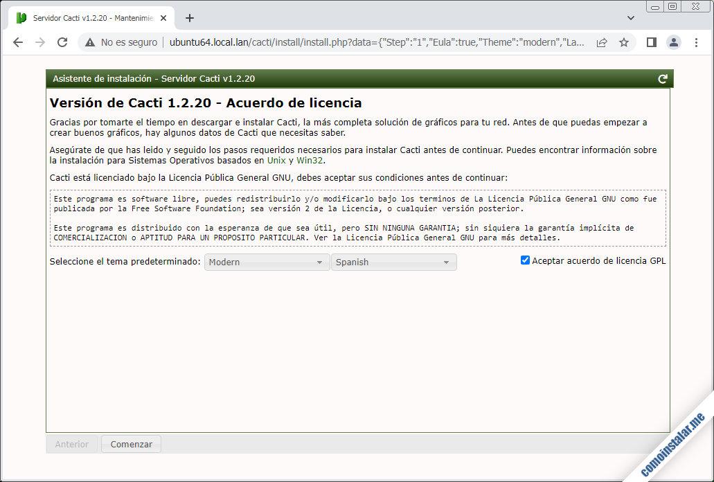 instalacion de cacti en ubuntu 18.04 lts bionic beaver