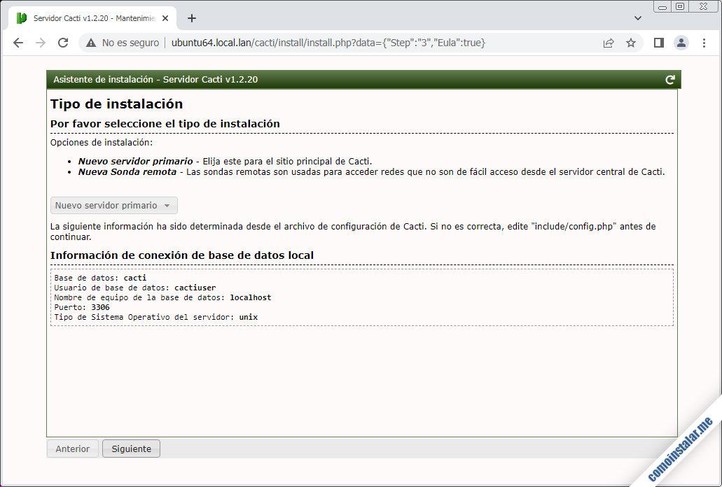 instalador de cacti en ubuntu 18.04 lts bionic beaver