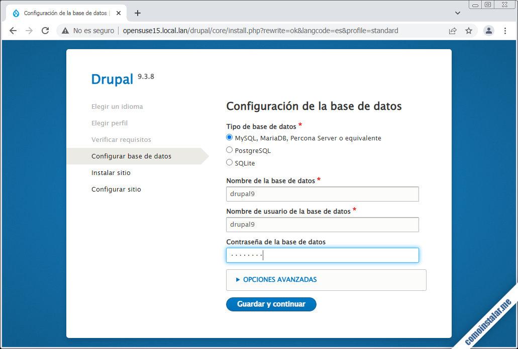 instalacion de drupal en opensuse leap 15.1 y 15.2