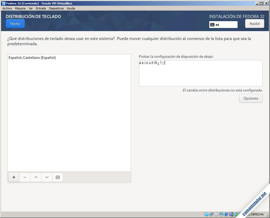 instalacion de fedora 32 en virtualbox