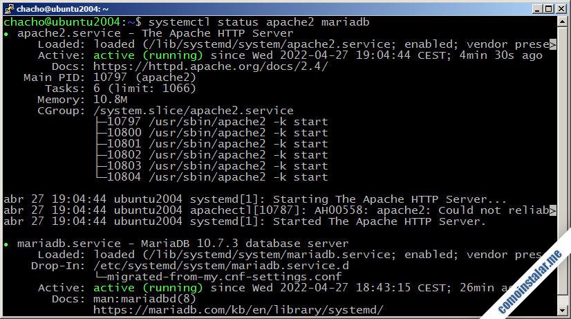 como instalar lamp en ubuntu 20.04 lts focal fossa