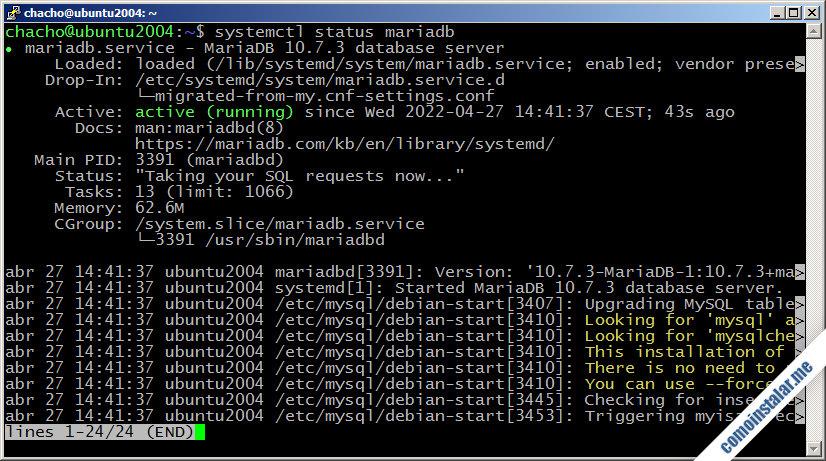 como instalar mariadb en ubuntu 20.04 lts focal fossa