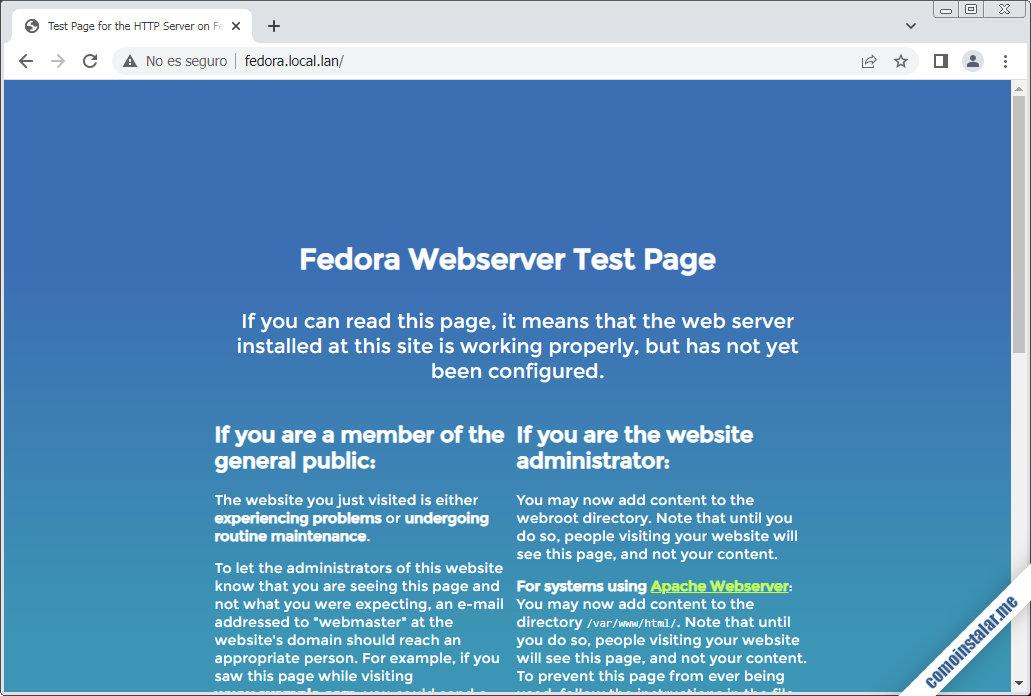 instalar el servidor web apache en fedora 32