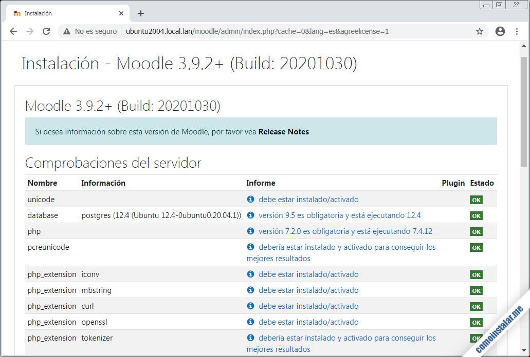 configuración de ubuntu 20.04 lts para moodle