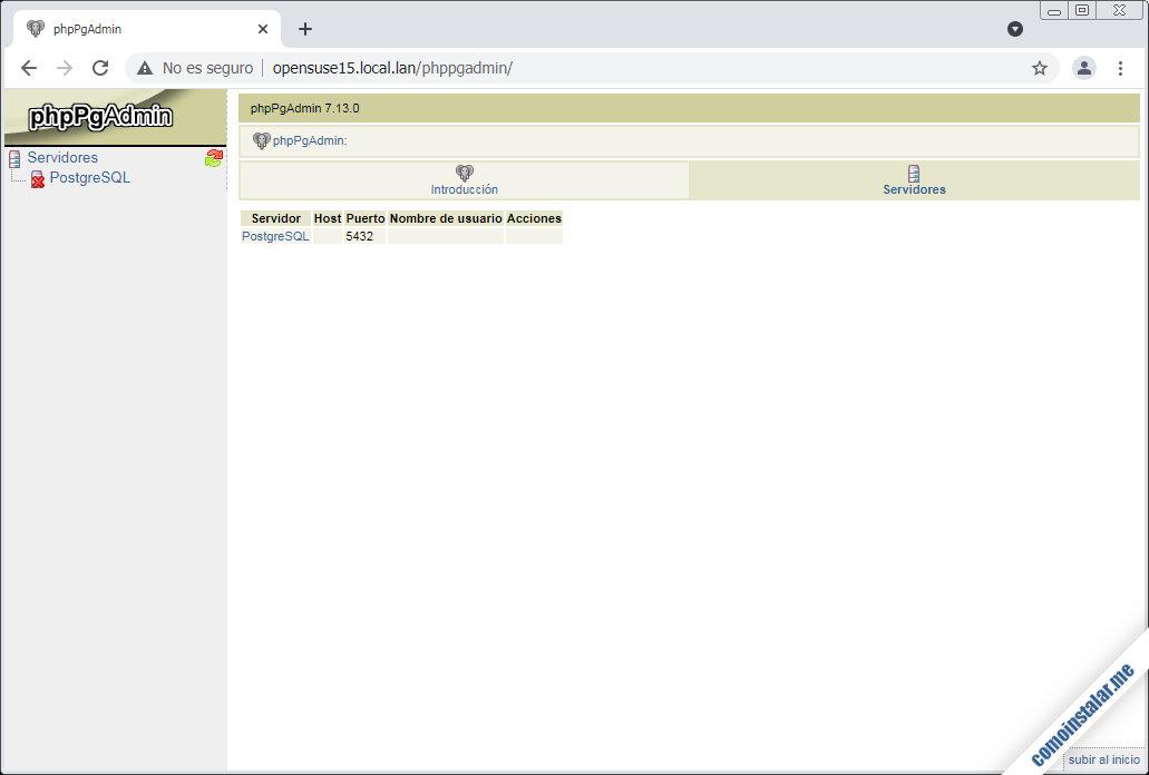 instalar phppgadmin en opensuse leap 15