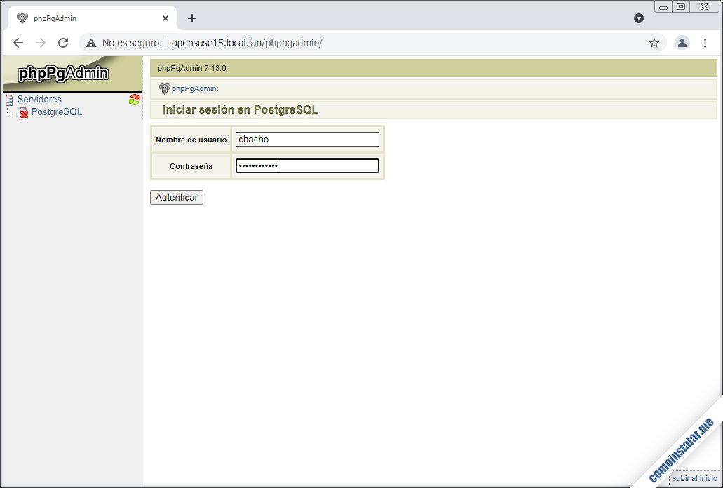 phppgadmin para opensuse leap 15