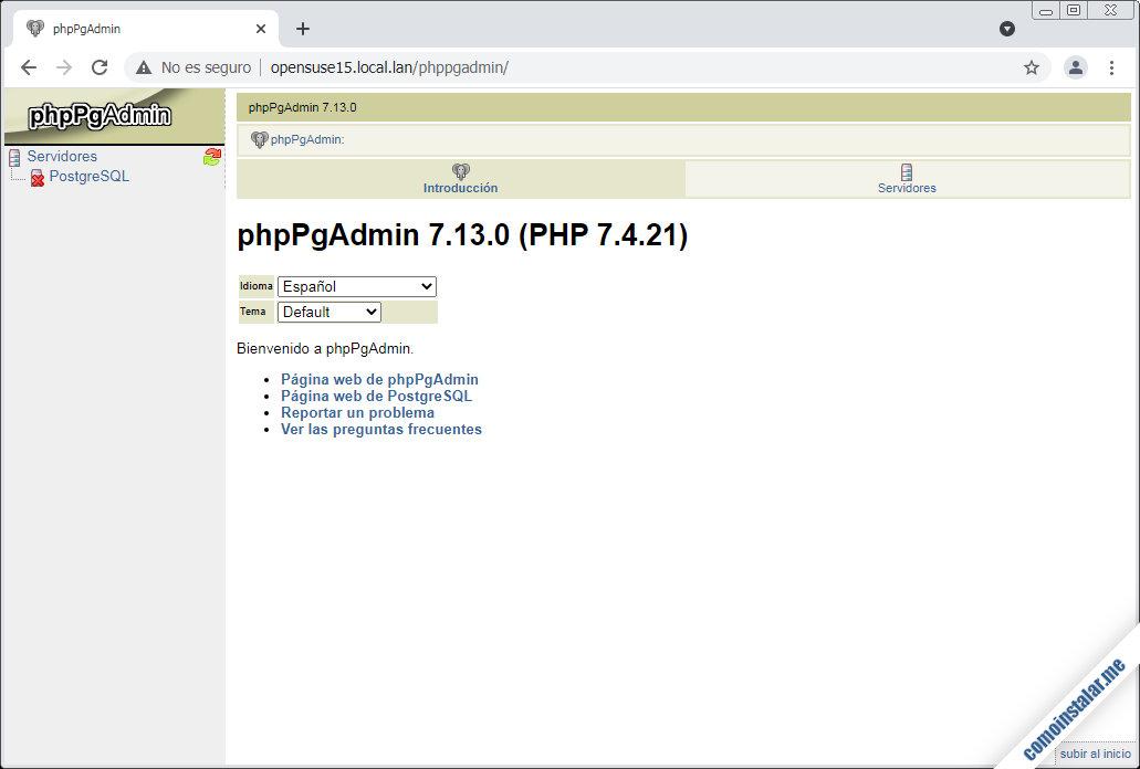 como instalar phppgadmin en opensuse leap 15