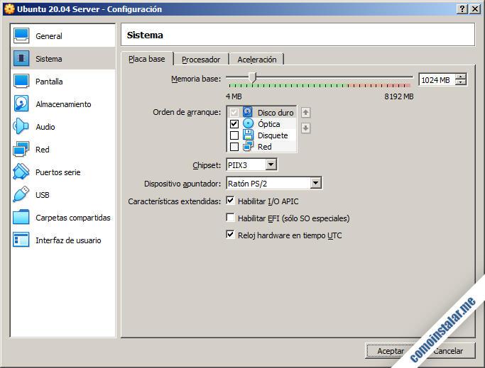 maquina virtual de ubuntu server 20.04 lts en virtualbox