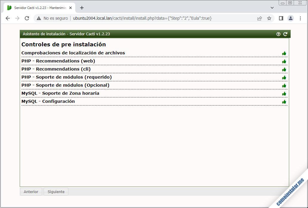 instalador de cacti en ubuntu 20.04 LTS focal fossa