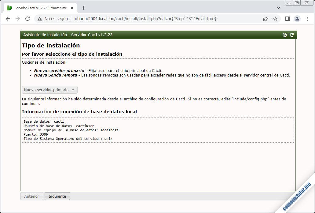 instalando cacti en ubuntu 20.04 lts focal fossa