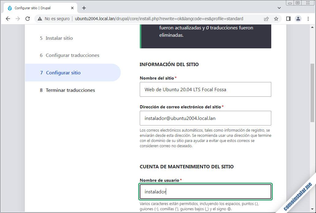 instalando drupal 9 en ubuntu 20.04 lts focal fossa