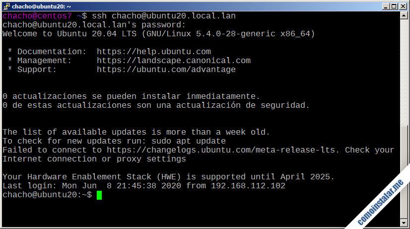 ssh en ubuntu 20.04 lts focal fossa