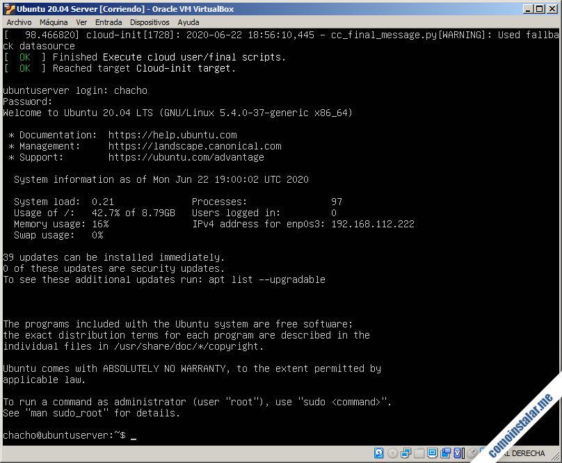 ubuntu server 20.04 lts focal fossa en virtualbox