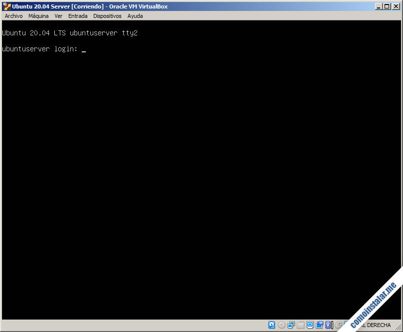 ubuntu server 20.04 en virtualbox