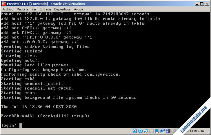 freebsd 11 corriendo en virtualbox