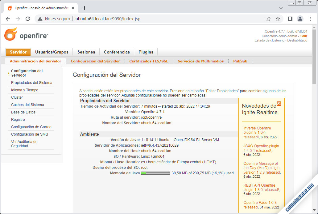 openfire sobre ubuntu 18.04 lts bionic beaver