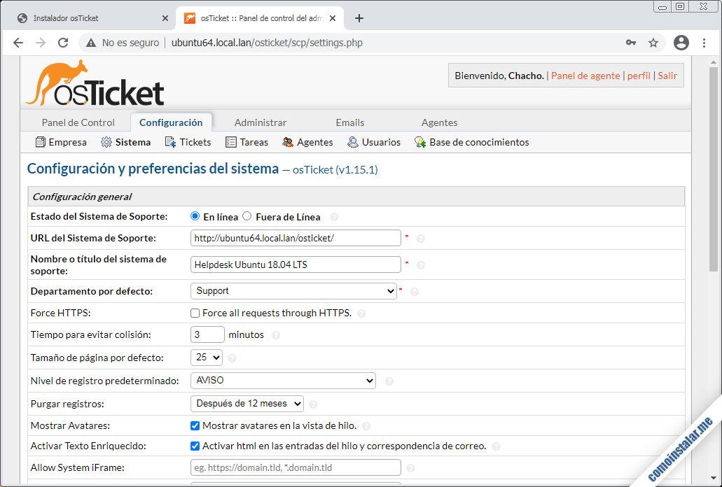 osticket sobre ubuntu 18.04 lts bionic beaver