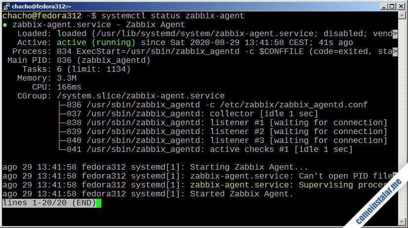 como configurar zabbix 5 en fedora 31