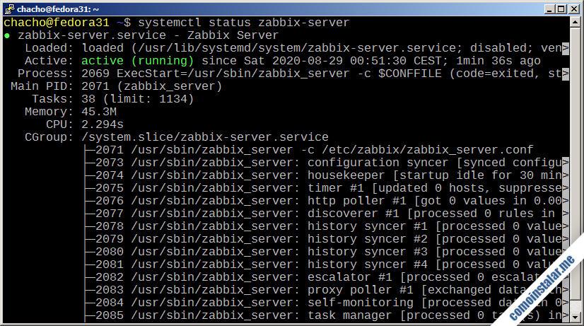 como instalar zabbix 5 en fedora 31