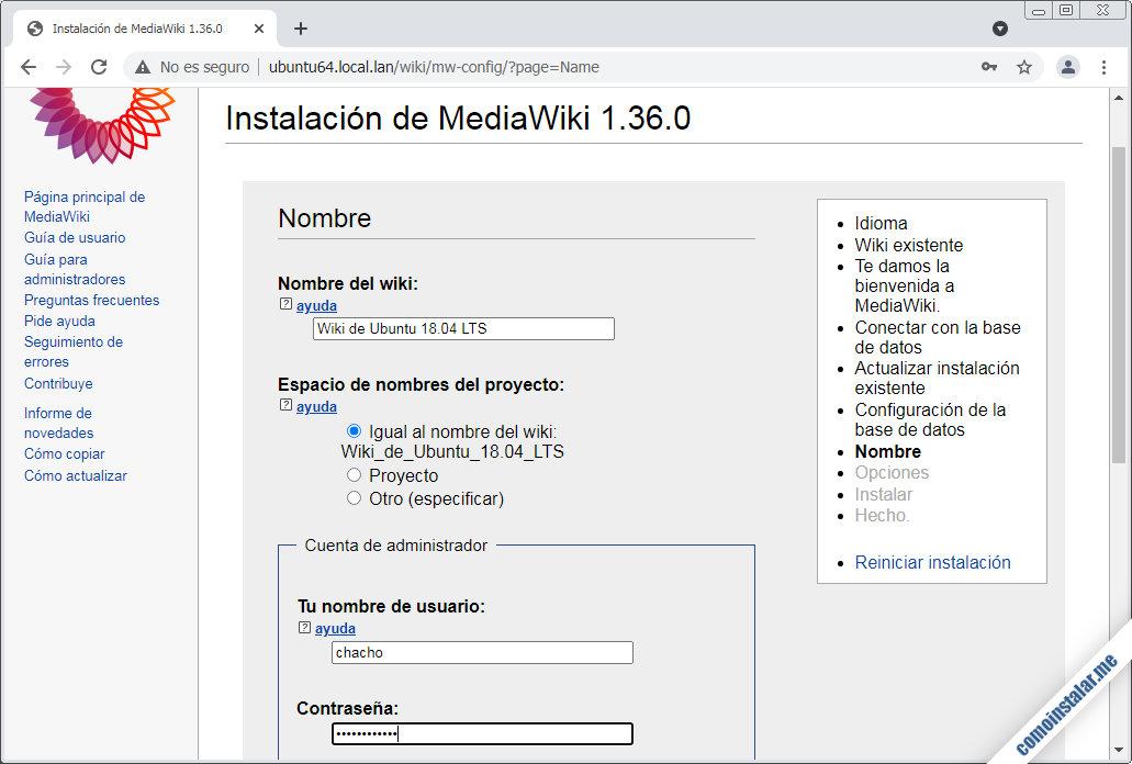 instalando mediawiki en ubuntu 18.04 lts bionic beaver