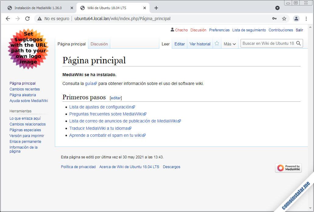 mediawiki en ubuntu 18.04 lts bionic beaver