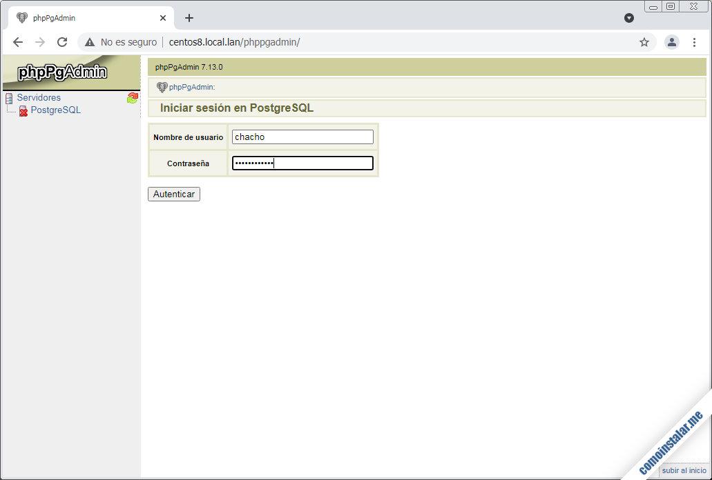 instalar phppgadmin en centos 8