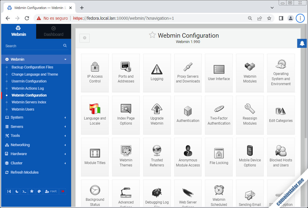 instalar y configurar webmin en fedora 32