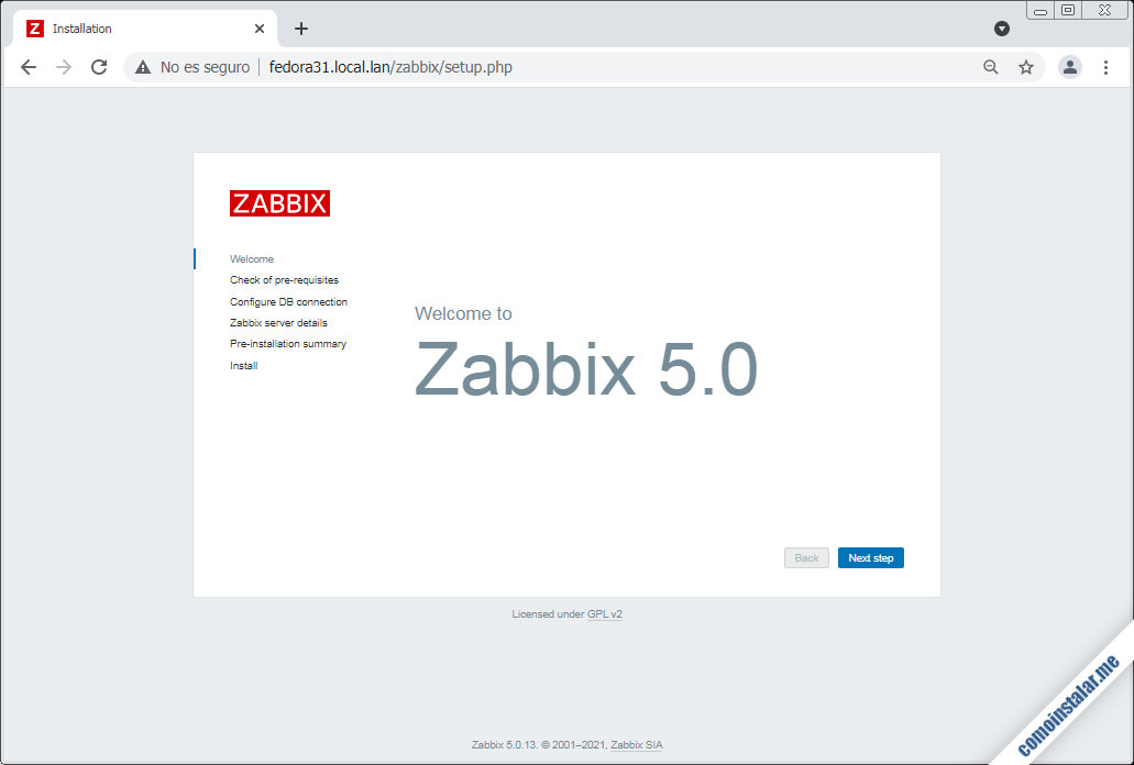 instalar zabbix 5 en fedora 31