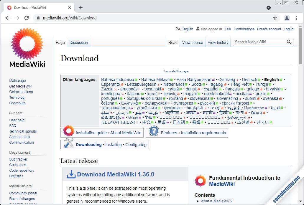 como descargar mediawiki para centos 7