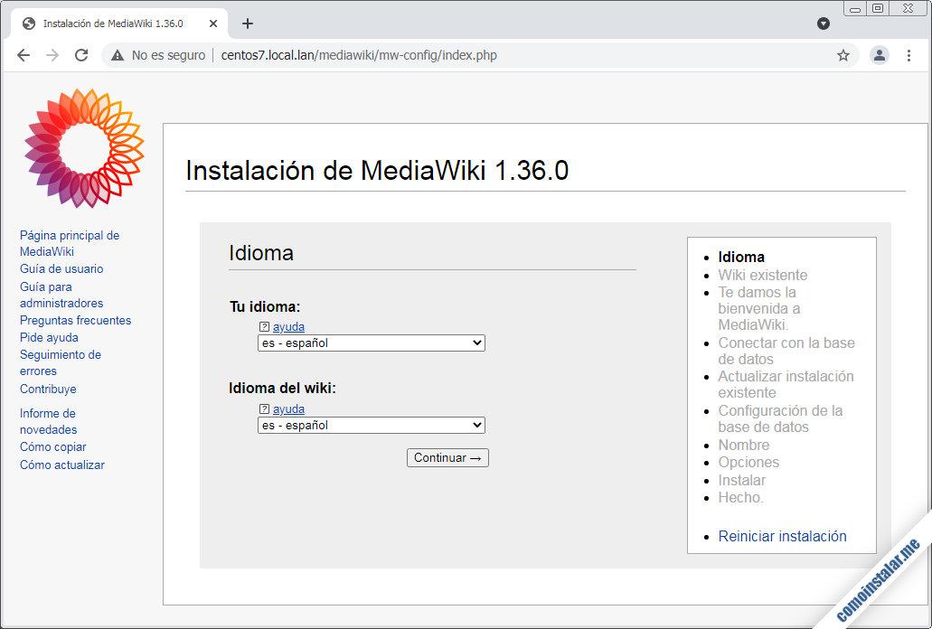 instalar mediawiki en centos 7