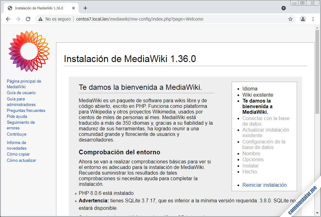 instalacion de mediawiki en centos 7