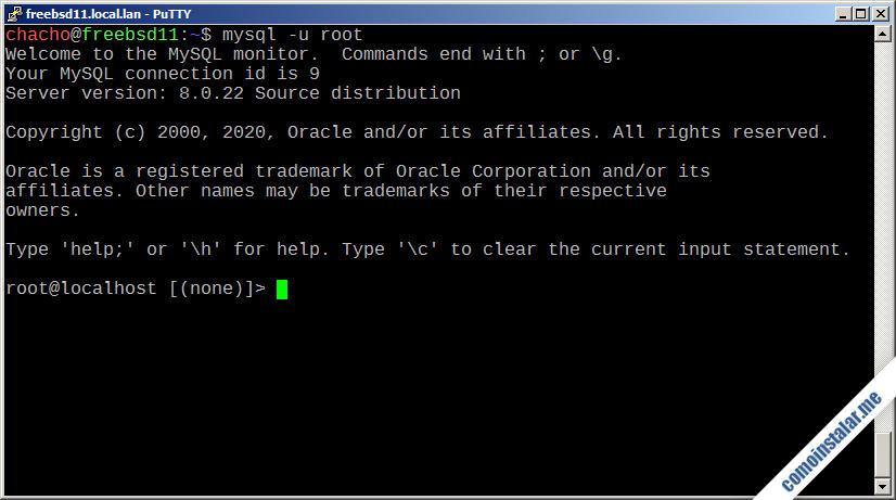 configurar mysql server en freebsd 11