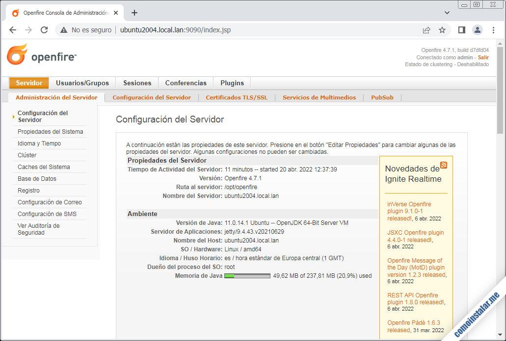 openfire para ubuntu 20.04 lts