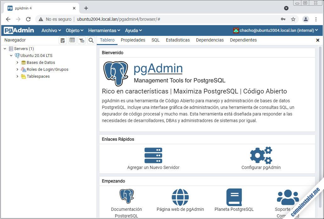 pgAdmin en Ubuntu 20.04 LTS focal fossa