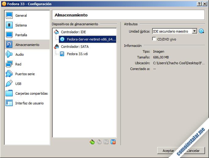 instalacion de fedora 33 en virtualbox