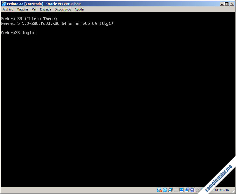 fedora 33 en virtualbox