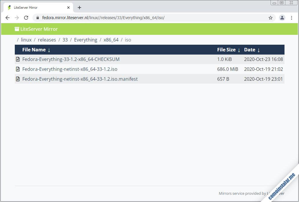 como descargar fedora 33 para virtualbox