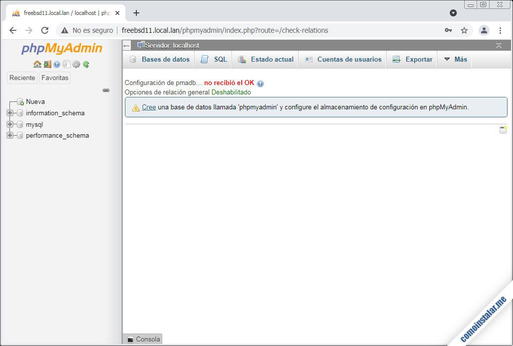 configurar phpmyadmin en freebsd 11