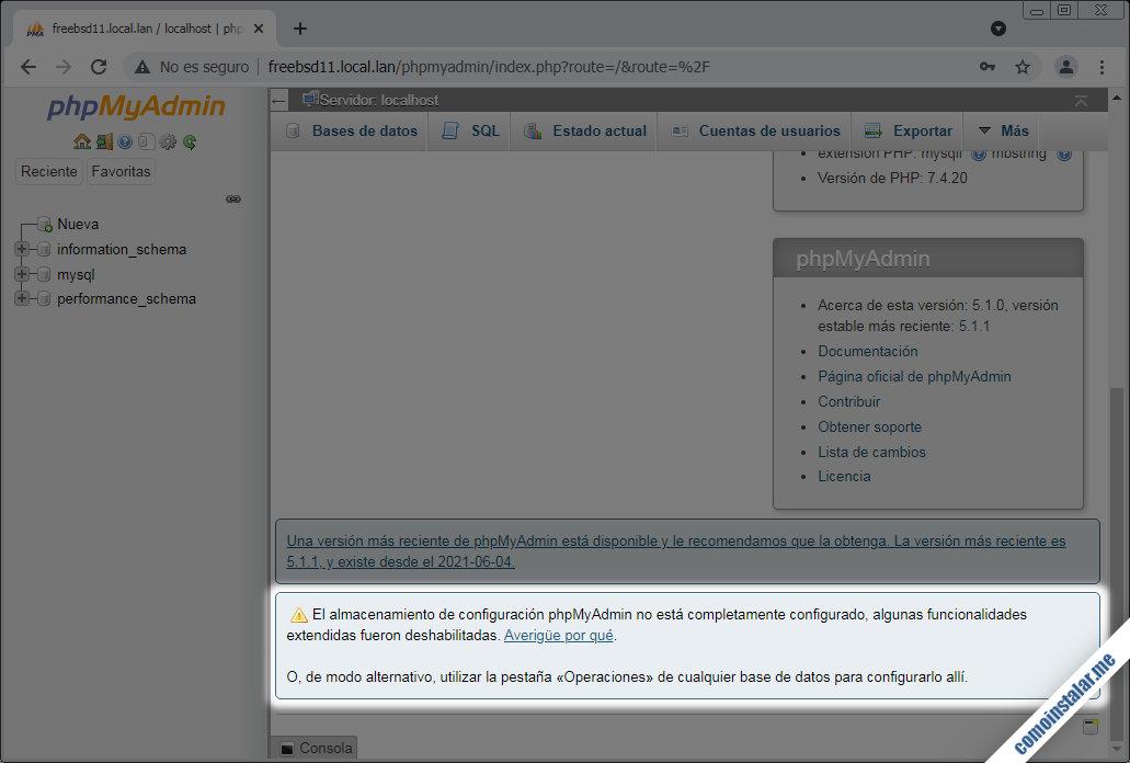 como configurar phpmyadmin en freebsd 11