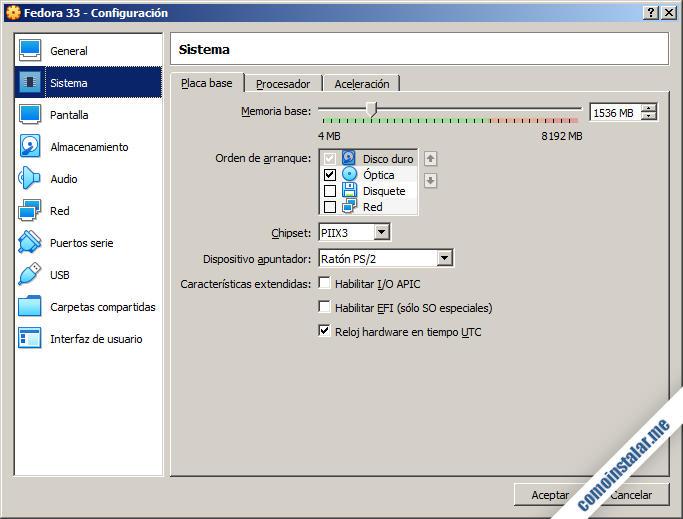 como instalar fedora 33 en virtualbox