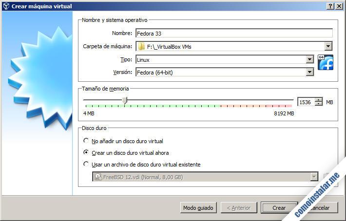 como crear una maquina virtual en VirtualBox para fedora 33
